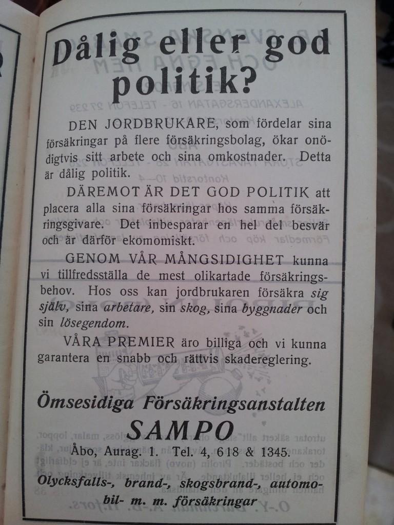 Försäkringar såldes med samma argument som idag redan 1928!