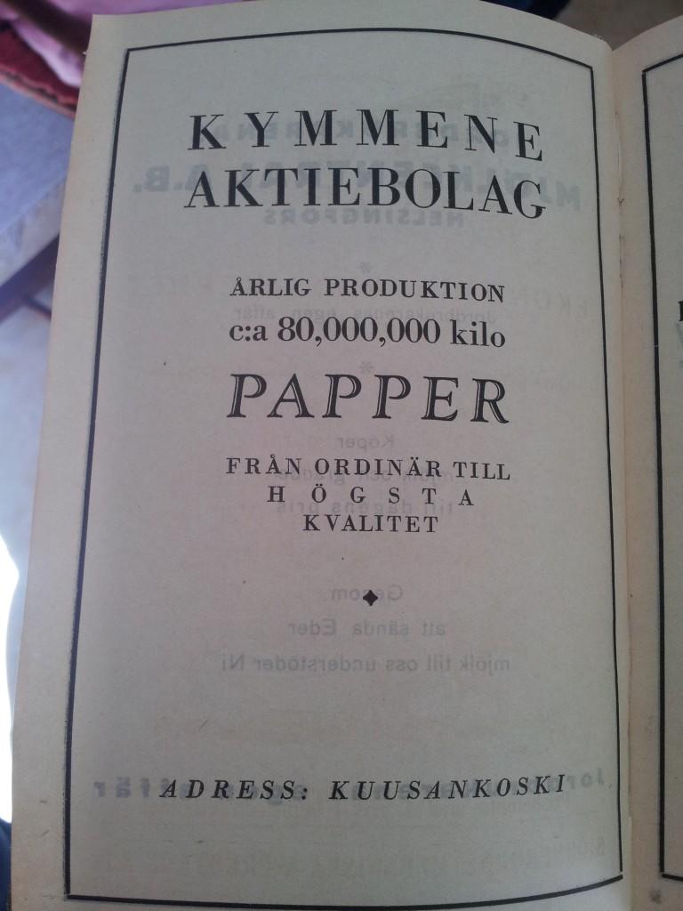 Reklam för Kymmene aktiebolag som tydligen tillverkade 80 000 ton papper