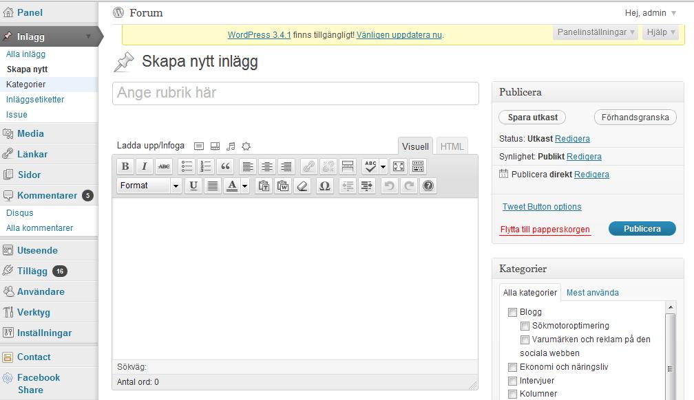 skriv inlägg i wordpress