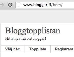 Välkommen att sätta till din blogg på den nya bloggtopplistan Bloggar.fi!