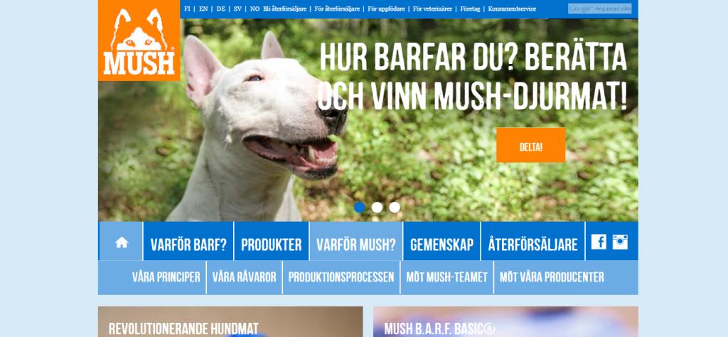 mush barf naturlig hundmat webbsida i Drupal